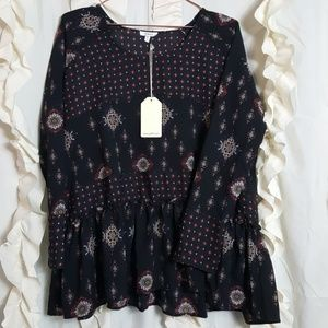 JODIFL Tops - NWT Jodifl boho peasant style print blouse flowy